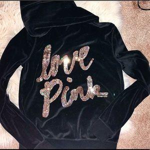 Victoria's Secret love pink velour hoodie